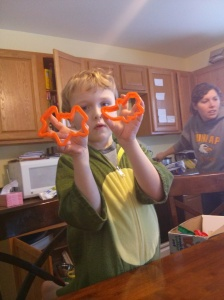 "Ethan and his ""Halloween"" cookie cutters"