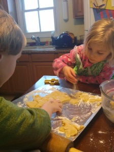 Ethan and Andi making cookies