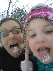 Andi and me eating snow!