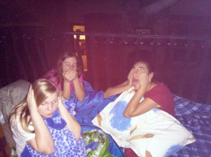 Paige, Taylor, and Melissa on the 1st night  (See no evil, Hear no evil, Speak no evil)