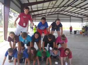 "My ""Bible Study"" group creating a human pyramid"