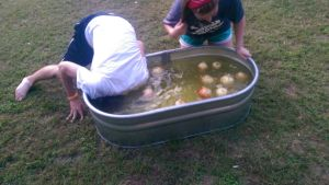 Walker bobbing for an onion!