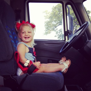 "Aubrey ""driving"" the bus!"