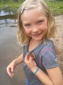 Catching frogs is a favorite now!