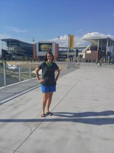 on the bridge, walking to McLane Stadium