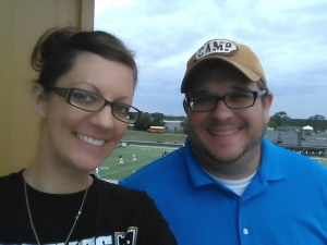 Paul and I standing in the press box....