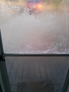 our front screen door, frozen over