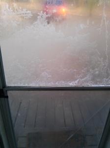our front screen door, frozen over
