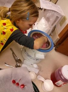 Hannah making chocolate covered cherries