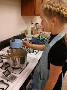 Rebecca stirring caramel