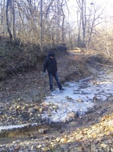 Kainoa testing out the ice