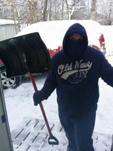 Paul shoveling our front porch