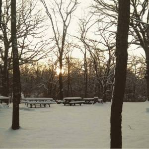 sunrise over the picnic benches