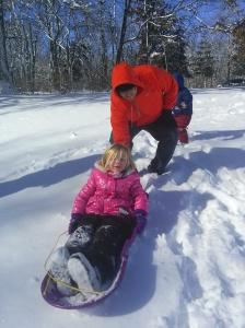 Andi, sledding