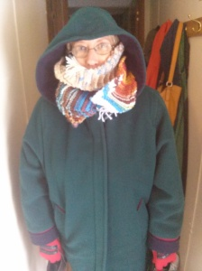She was bundled up like she was at the North Pole!