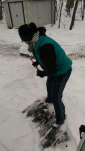 me shoveling our front porch