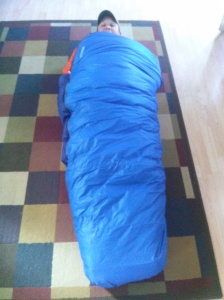 Paul trying out his sleeping bag