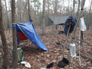Jim's hammock and tent covering, along with the water filtration system