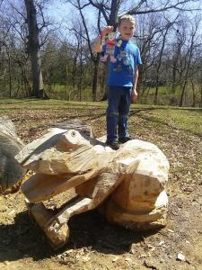 climbing on the frog with Ethan